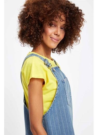DeFacto Çizgili Askılı Denim Elbise Mavi